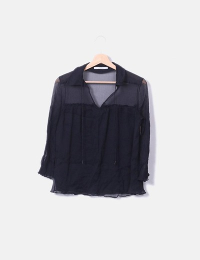 Blusa seda negra