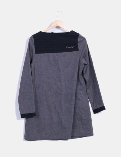 547c91ce2 Beste bat Vestido manga larga bicolor con brillos plateados (descuento 83%)  - Micolet