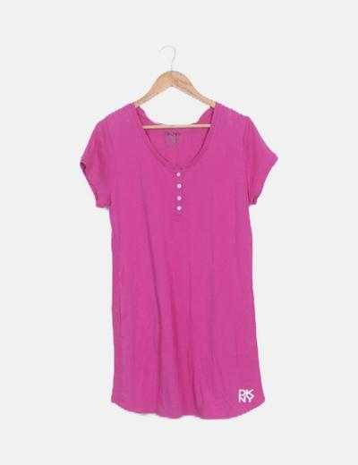 Vestido fluido rosa manga corta