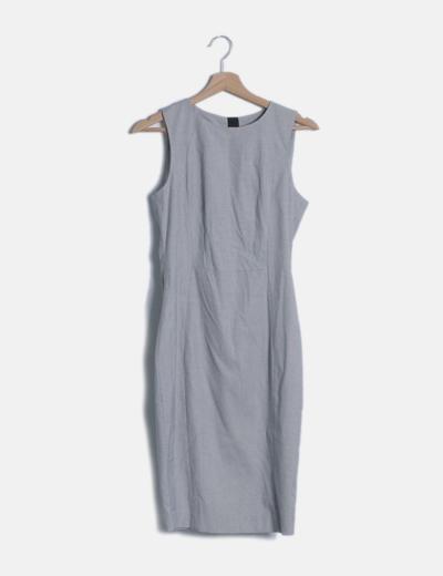 Vestido midi gris jaspeado