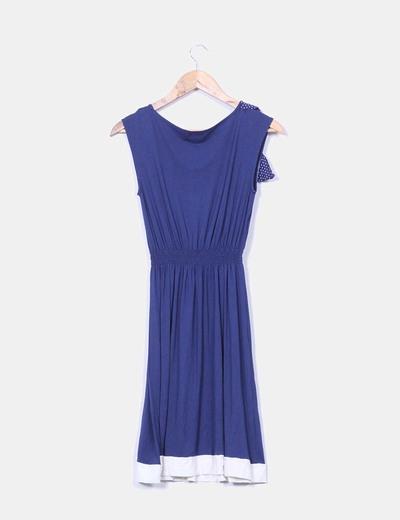 Vestido azul marino cinturilla elastica con lazo