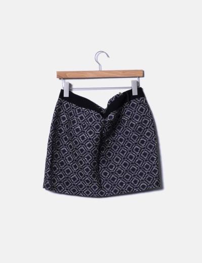 Falda midi texturizada estampada