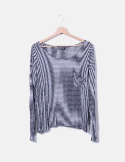 Camiseta fluida gris de rayas Shana