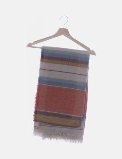 Bufanda combinada tricolor desflecada