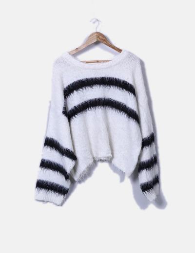 Jersey de pelo blanco rayas negras H&M