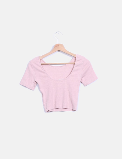 Crop top rosa palo