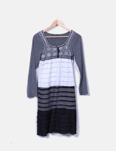 Vestido gris combinado
