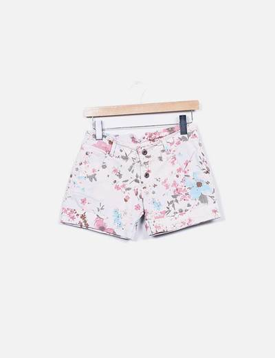 Shorts rosa denim floral