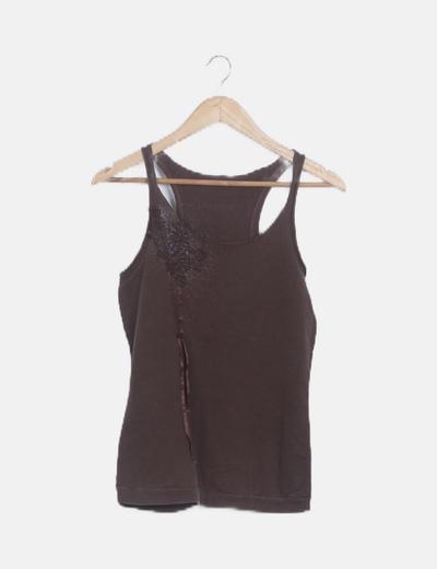 Camiseta marrón tirantes glitter