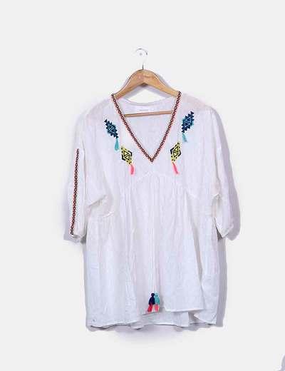 Vestido plumetti blanco étnico