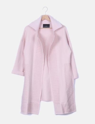 Cárdigan rosa palo bordado