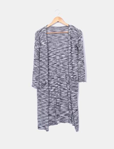 Cárdigan tricot largo gris jaspeado NoName