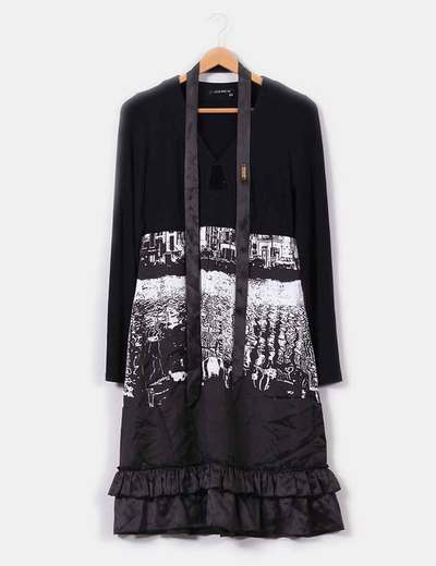 Vestido negro estampado en blanco Jota+Ge