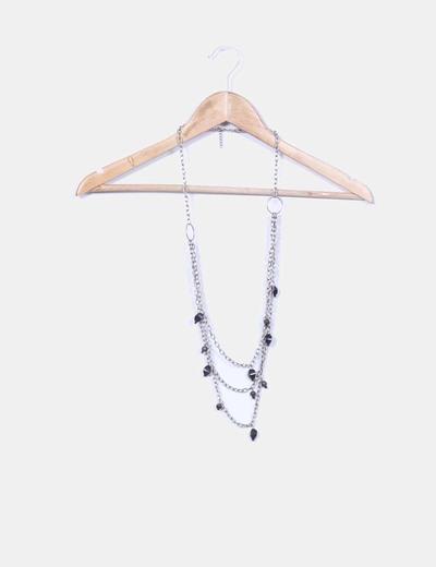 Collar cadenas plateadas abalorios NoName