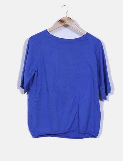 Tricot azul klein oversize cuello redondo Zara