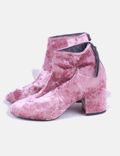 Botín velvet rosa