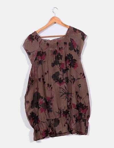 Blusa marron print floral
