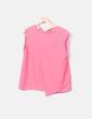 Blusa rosa asimétrica sin mangas Suiteblanco