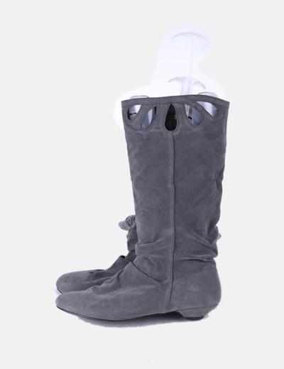 Chaussure gris de daim plat Suiteblanco