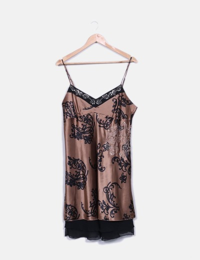 Vestido marrón estampado satén C&A