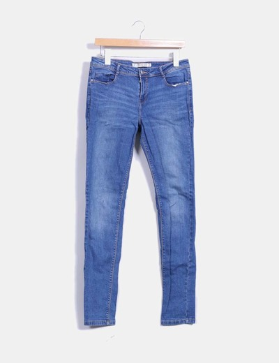 Pantalón denim elástico Zara