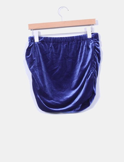 Mini falda azul klein de terciopelo