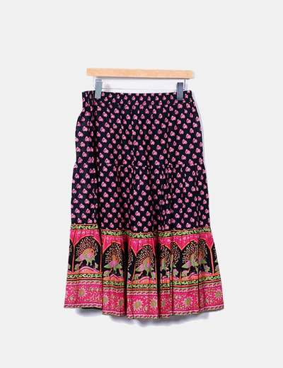 "Multicolor skirt print ""peacock"" Sfera"