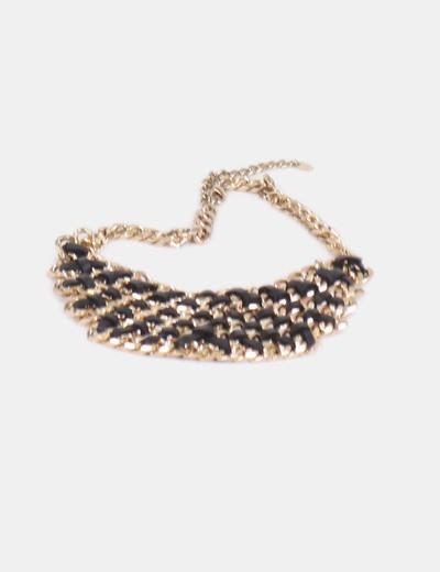 Collar eslabones dorados con polipiel negro Zara