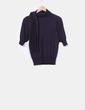 Suéter tricot azul marino con escote lazo Mango