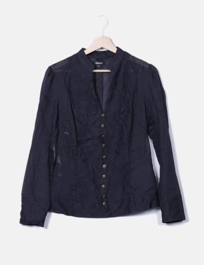 Blusa plisada negra Suiteblanco