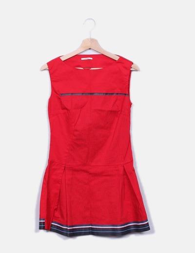 Vestido rojo con bordados Skunkfunk