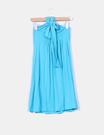 31e5d2cbea La casual Vestido midi azul turquesa escote halter (descuento 97%) - Micolet