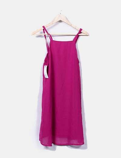 Vestido de gasa rosa de tirantes Suiteblanco