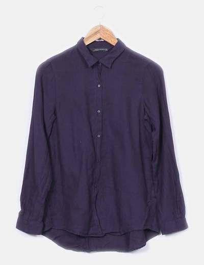Camisa hilo azul marino Zara