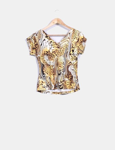 Top print escote nudo