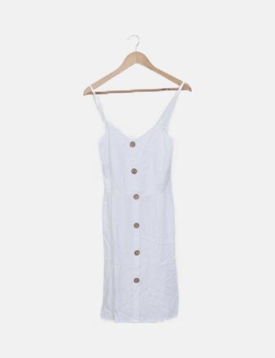 Vestido blanco tirante botones