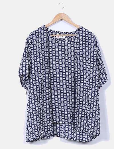 Blusa estampada con efecto chaqueta azul marino NoName