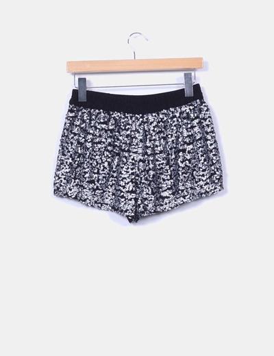 Shorts tul negro lentejuelas plata