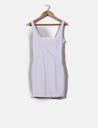 Vestido liso blanco escote redondo Bershka