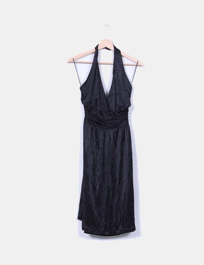 Vestido negro atado al cuello Mango