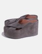 Gray suede platform clogs Jeffrey Campbell