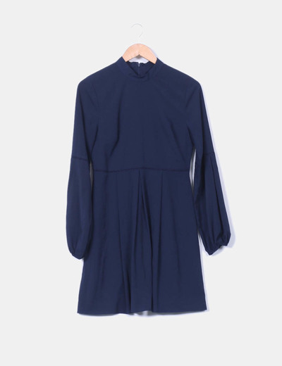 Vestido azul marino fluido Warehouse