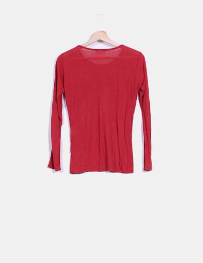 Camiseta fina roja manga larga