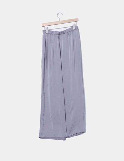 Maxi falda satinada gris