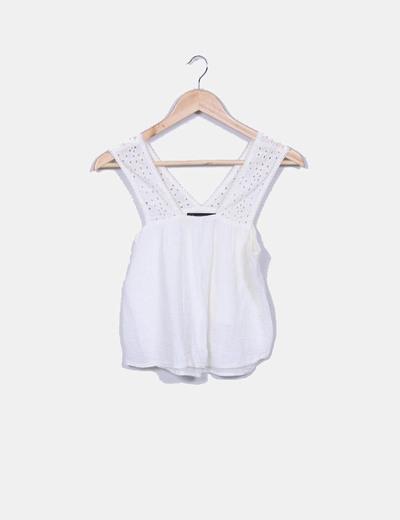 Blusa bege combinada Zara