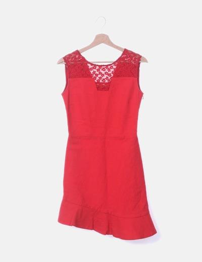 Vestido rojo detalle red