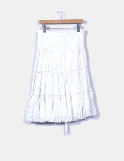 Falda midi blanca con vuelo Modaland