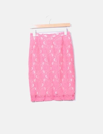 Falda midi crochet rosa
