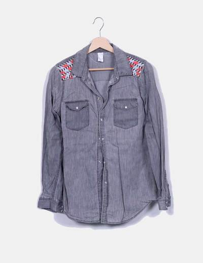 Camisa denim gris con bordado VILA