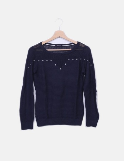Pull bleu marine en tricot Promod